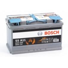 Аккумулятор 80 BOSCH AGM 6CT-80 R+ (S5A110)